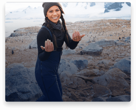 iFit Trainer Betina Gozo leading a workout in Antarctica.