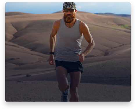 iFit Trainer Tommy Rivers Puzey running in Morocco.