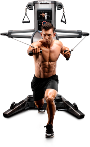Man pulling forward from behind on a Fusion strength training machine.