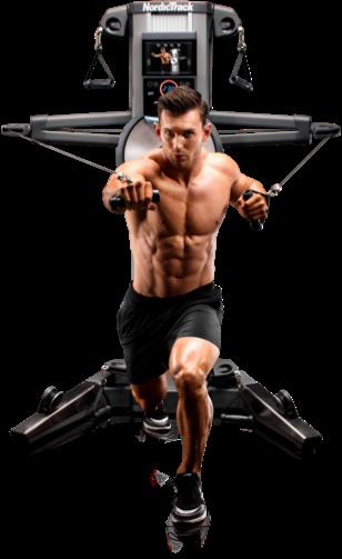 Homme tirant vers l'avant depuis l'arrière sur un appareil de renforcement musculaire Fusion.