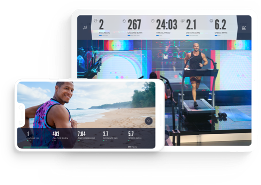 iFit workouts display on the iFit Cardio app on a phone and a tablet.