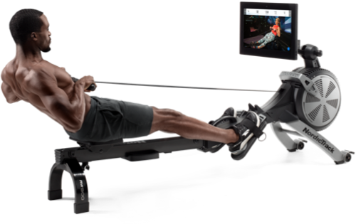 Man pulling back on a rower.