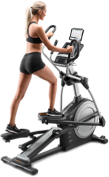 Woman working out on an elliptical.