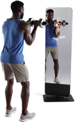 Man exercising in front of a parallel training machine.