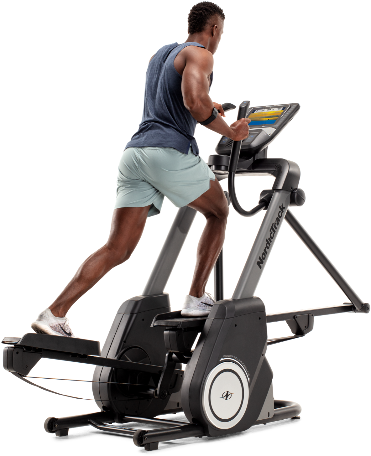 Man using an elliptical machine with the iFit app.