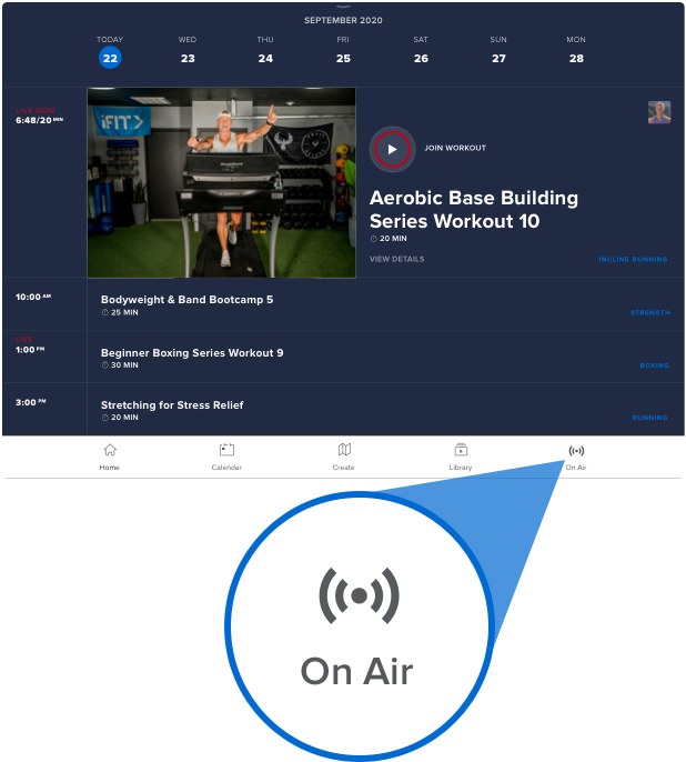 """A screenshot of the iFit app showing the """"On Air"""" button."""