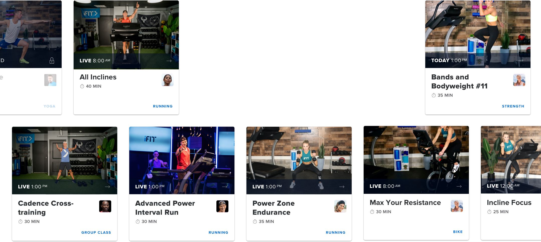 A sample collection of iFit workout programs.