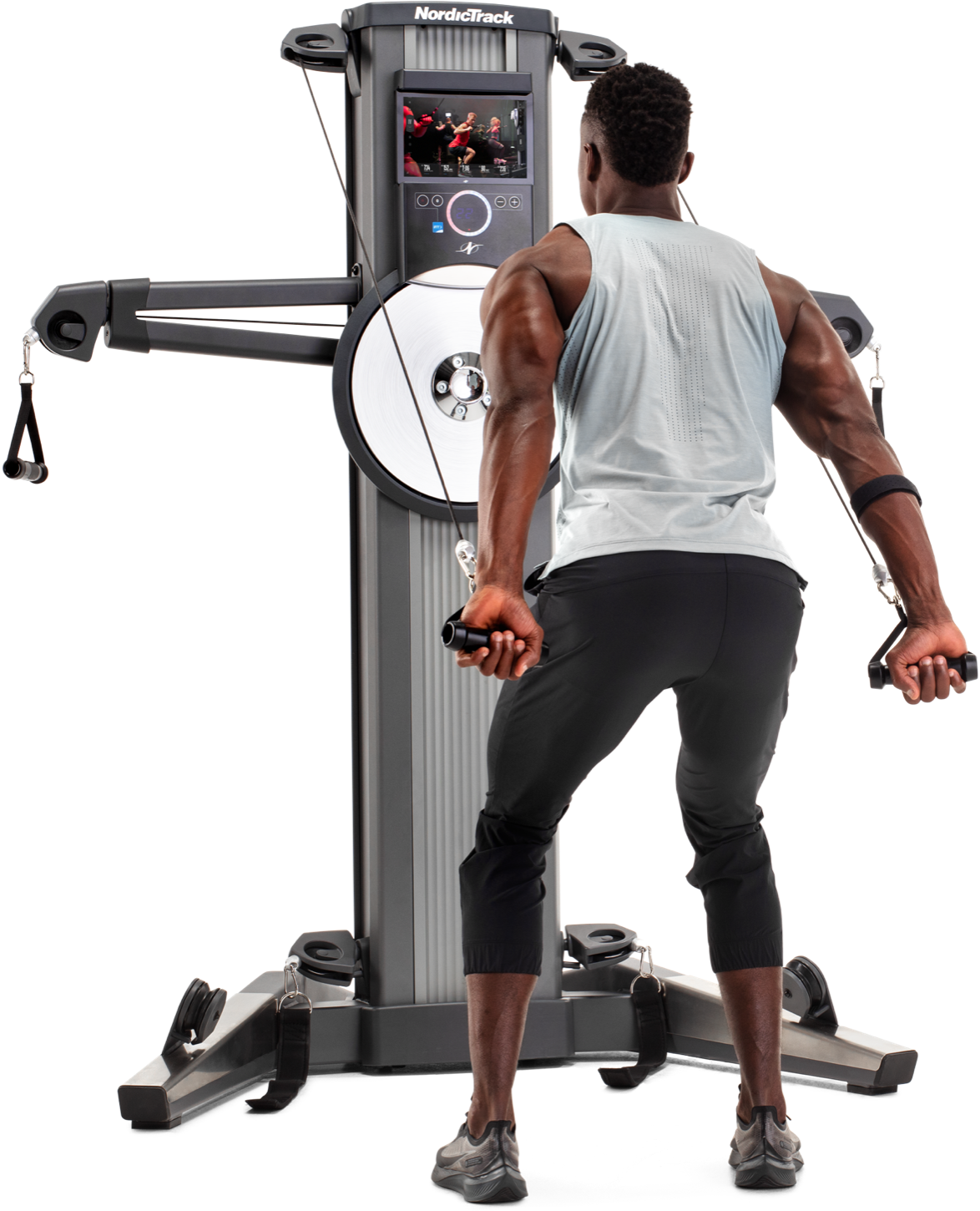 Man exercising on an iFit-enabled treadmill.