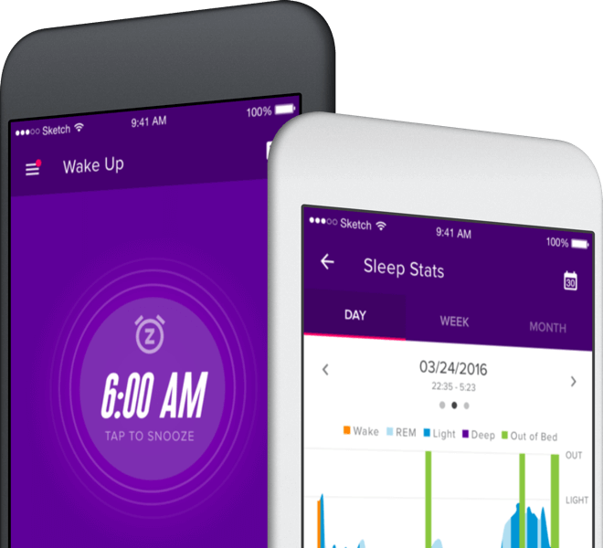 Mobile phones using the iFit Sleep app.