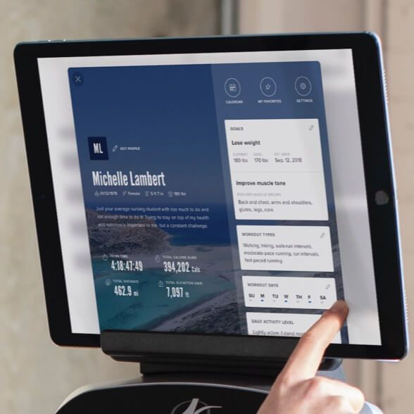 A smart tablet with the iFit Coach app.